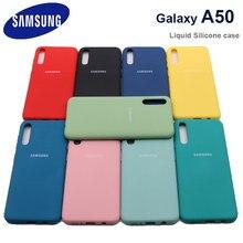 Capa para samsung a50 galaxy a 50 2019 a505 a50s a30s silicone líquido capa protetora macia de seda anti-knock