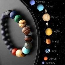 Bracelet en pierre naturelle pour hommes et femmes, amoureux des 8 planètes, univers, Yoga, Chakra, système solaire, perles