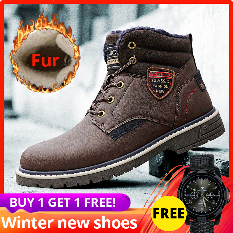 Winter Boots Men High Quality Leather With Fur Plush Casual Ankle Warm High Top Shoes Men Winter #XWA9717