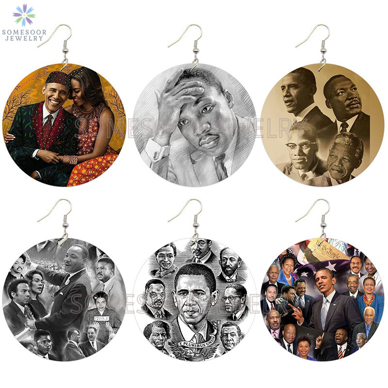 SOMESOOR Printed Great Black History Leaders Wooden Drop Earrings American President Obama African Martin Luther King Designs image