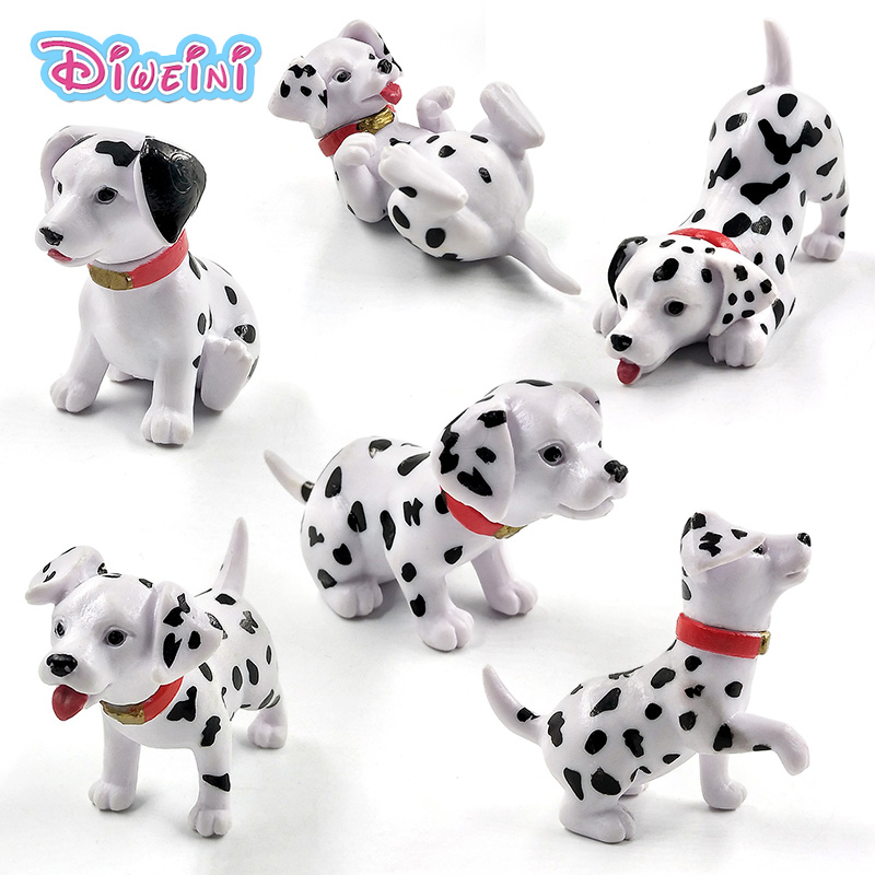 6pcs Puppy Dalmatian Spot Dog Action Figure  Artificial Cartoon Animal Model Garden Decoration Figurine One Piece Gift For Kids