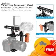 Hdrig dslr camera kit de tiro vídeo gaiola com alça queijo ajustável e punho esquerdo de madeira para sony canon nikon panasonic