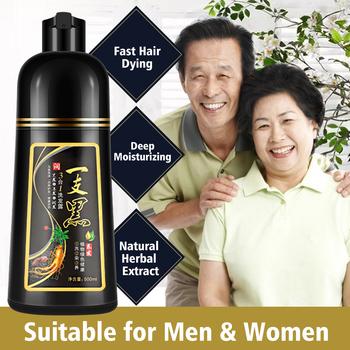 500ml permanentny szampon do czarnych włosów organiczny naturalny szybki farba do włosów esencja roślinna czarny szampon koloryzujący dla włosów dla kobiet mężczyzn tanie i dobre opinie HAIMAITONG CN (pochodzenie) Kolor włosów 19632514
