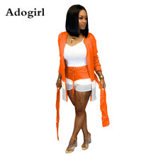 Adogirl Stripe Color Patchwork Knitted Wool Two Piece Set Women Casual Long Sleeve Cardigan with Sashes + Shorts Outfits