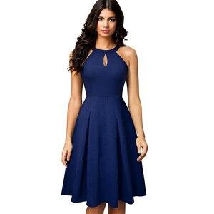Image 3 - Женское винтажное расклешенное платье Nice forever, однотонное повседневное ТРАПЕЦИЕВИДНОЕ ПЛАТЬЕ С дырками для ключей, модель A195, 2019
