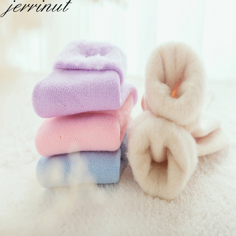Winter Warm Socks Women Thermal Wool Socks Fluffy Fuzzy Cashmere Snow Cotton Sock White Black Terry Sleeping Sock Jerrinut 1Pair