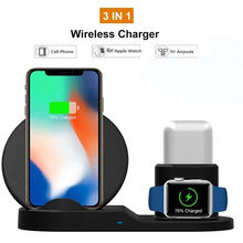 3 in 1 Wireless Charger Dock Station Fast Charging For iPhone 11 X Xs Max XR 8 AirPods For Apple Watch iWatch 4 3 2 For Samsung 3 in 1 magnetic phone charger for iphone x s max xr 8 7 wireless charger for apple watch 2 3 4 airpods charging dock station