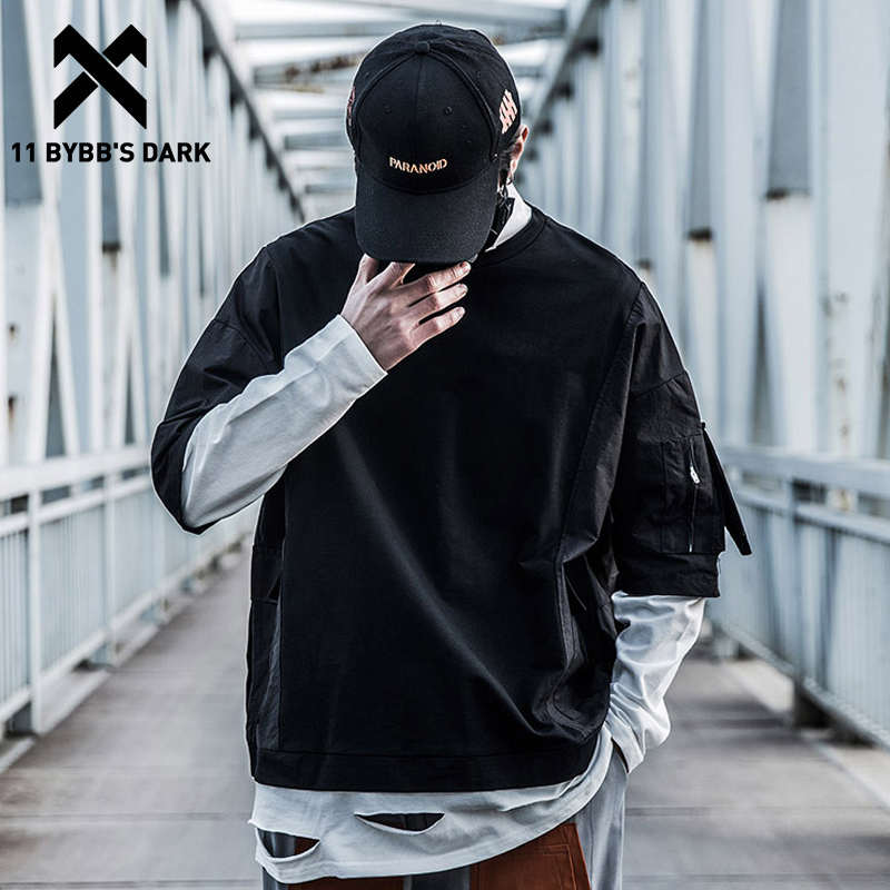 11 BYBB'S DARK Hip Hop Fake Two Pieces Patchwork Hole Sweatshirt Men 2019 Fashion Streetwear Hoodie Casual Cotton Loose Pullover