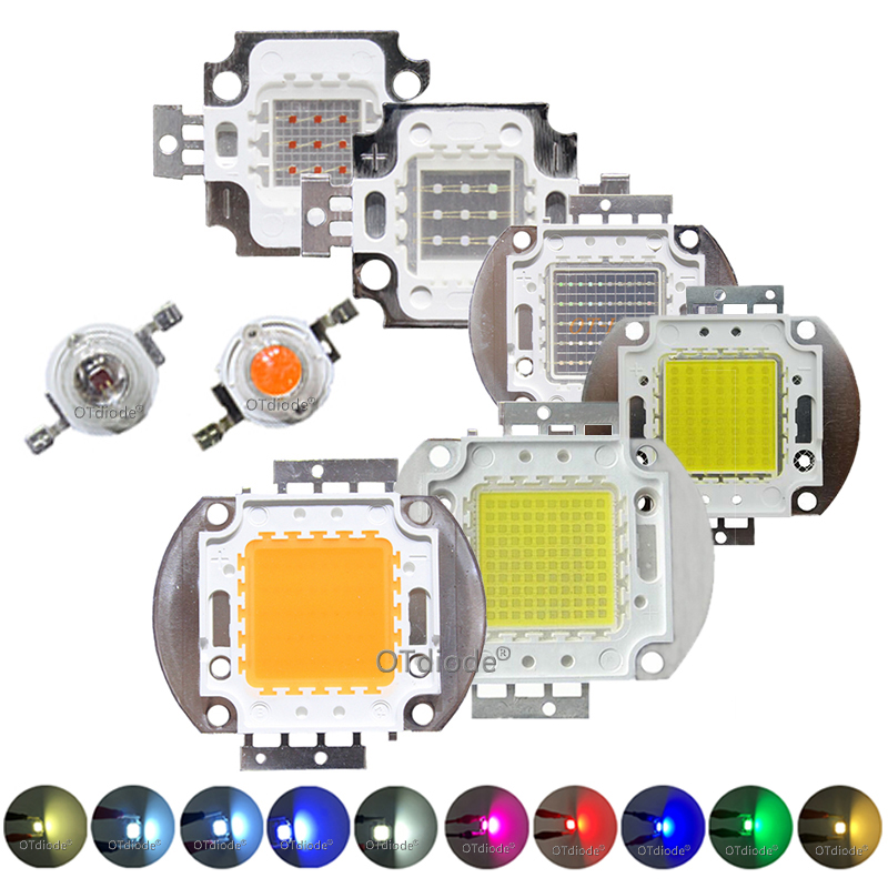 High Power LED Chip 1W 3W 5W 10W 20W 30W 50W 100W SMD <font><b>COB</b></font> Light Bead Warm Cold White Red Green Blue RGB Full Spectrum Grow Light image