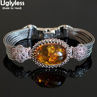 Uglyless Real Natural Amber Beeswax Bracelets for Women Big Size Gemstone Bracelet 925 Silver Floral Bangle Ethnic Jewelry BR294