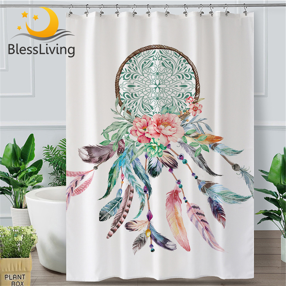 Shower Curtain Waterproof Fabric Bathroom Mat BOHO Dreamcatcher Feather Flowers