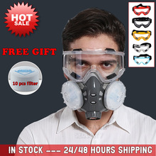 New Dust Mask Respirator Dual Filter Half Face Mask With Safety Glasses For Carpenter Builder Polishing Dust proof +10 Filters