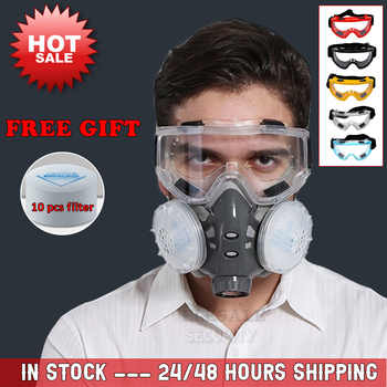 New Dust Mask Respirator Dual Filter Half Face Mask With Safety Glasses For Carpenter Builder Polishing Dust-proof +10 Filters - Category 🛒 Security & Protection
