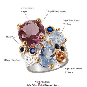 Image 5 - DreamCarnival1989 Super Elegant Women Engagement Rings Chic 2019 Lilac Tone Zircon Two Tones Colors Anniversary Jewelry WA11738