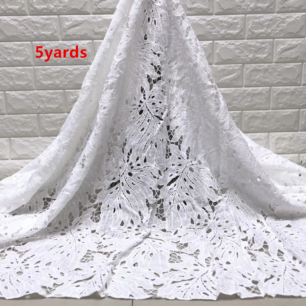 wholesale 5yards latest african milk silk  lace  water soluble chemical lace fabric,high quality african cord lace    JYMAY201