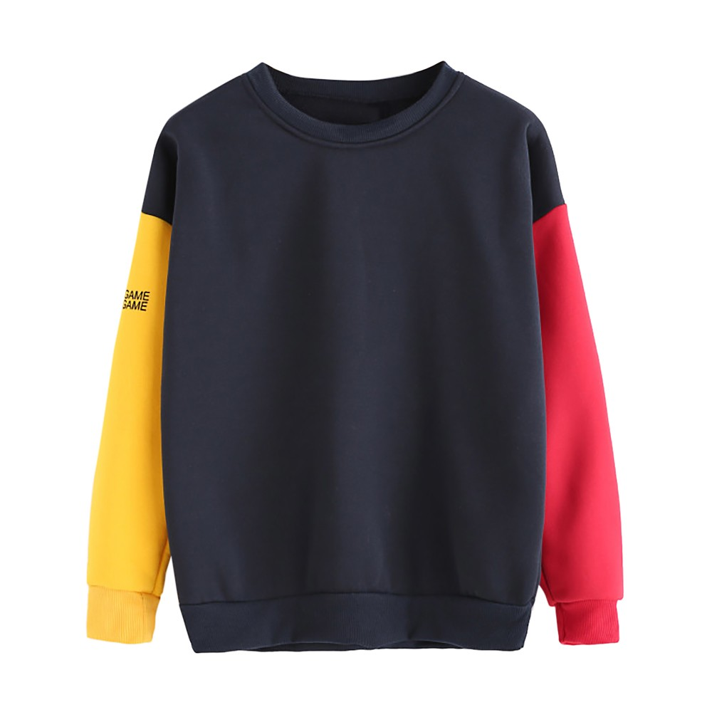 JAYCOSIN Fashion Women Simple Casual Loose Solid Letter Print Sweatshirt Long Sleeve Comfortable Soft Chic Pullover Tops Blouse