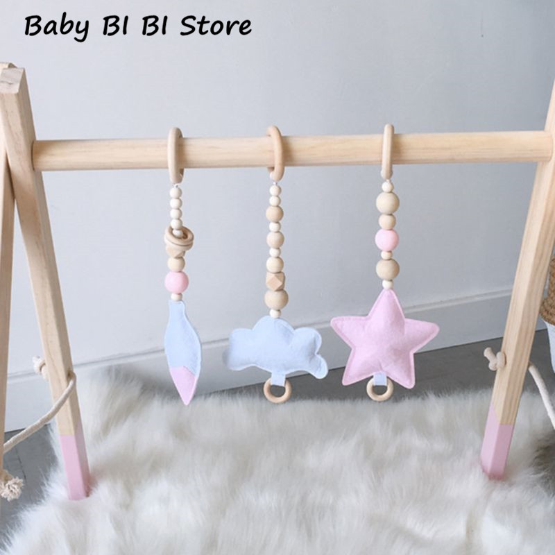 Nordic Style Ring-pull Baby Gym Toy Sensory Nursery Kids Room Infant Toddler Clothes Wooden Frame Rack Decoration