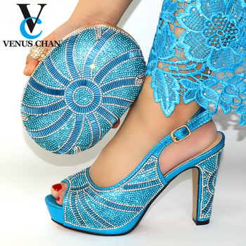 2020 New Sky blue Color Fashion Rhinestone Woman Shoes And Matching Bag Set Italian Style Pumps Shoes And Bag Set For Party