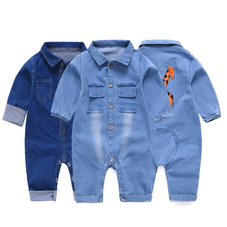 New Baby Rompers Cartoon Giraffe Pattern Long Sleeve Denim Overalls Jumpsuits Kids Clothes Bebe Clothing Outfits One Pieces