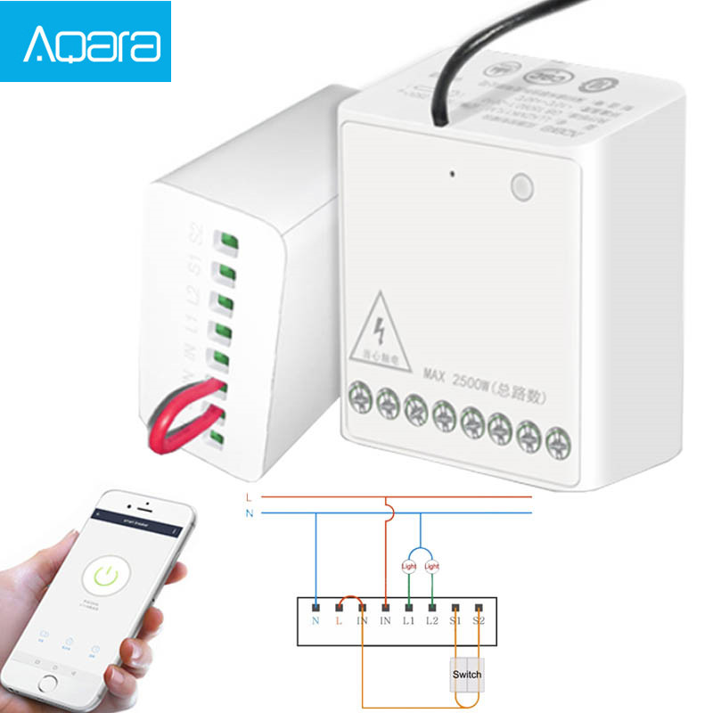 Aqara LLKZMK11LM Two-way Control Module Wireless Relay Controller 2 Channels Work For smart home APP  amp  Home Kit Control Module