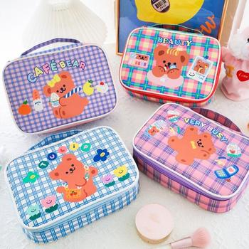 Bear Girls Cosmetic Case Korea Cute Large Capacity  Make Up Bag Home Storage Makeup Brush Pocket Organizer for Cosmetics
