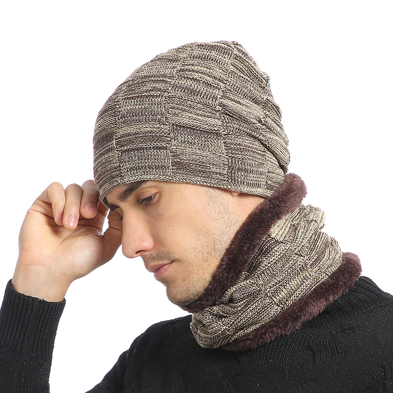 Knitted Hat Scarf Set Fur Wool Lining Thick Warm Knit Beanies Neck Warmer Winter Hat For Men Women Cap Skullies Bonnet