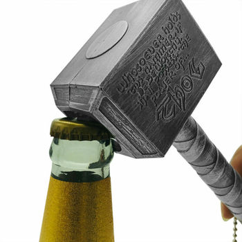 2020 New Silver Beer Bottle Openers Multifunction Hammer Of Thor Shaped Beer Bottle Opener With Long Handle Bottler Opener Beer
