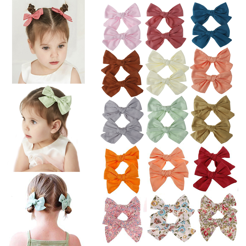 2pcs/set Cute Solid Color Flower Printed Hair Clips For Girls Princess Cotton Hair Bows Kids Hairpins Barrettes Hair Accessories