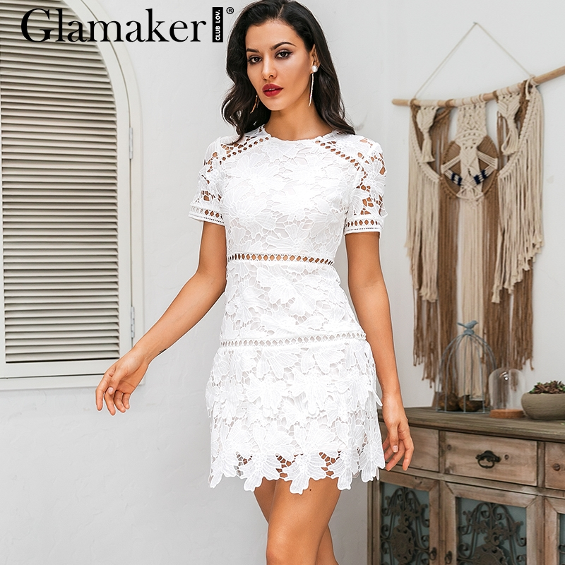 Glamaker  Sexy White Short Hollow Lace Party Dress Women Fall A Line Floral Sleeve Dress Elegant Mini Short Dresses For Girls