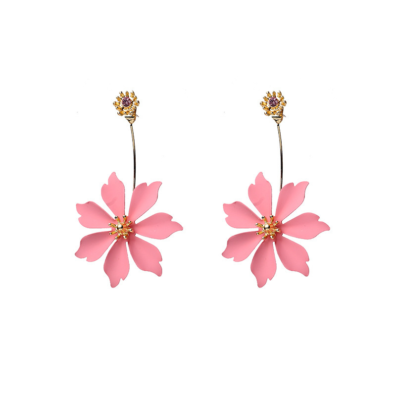 exquisite elegant Flower shape Hanging Dangle Earrings 2019 New High Quality Contracted Candy Color Fashion Trend Stud Earrings