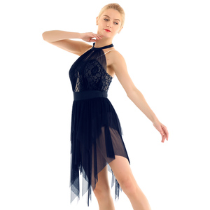 Image 3 - Women Halter Lace Asymmetrical Figure Skating Modern Ballet Dance Dress Gymnastics Leotard Contemporary Lyrical Dance Costumes
