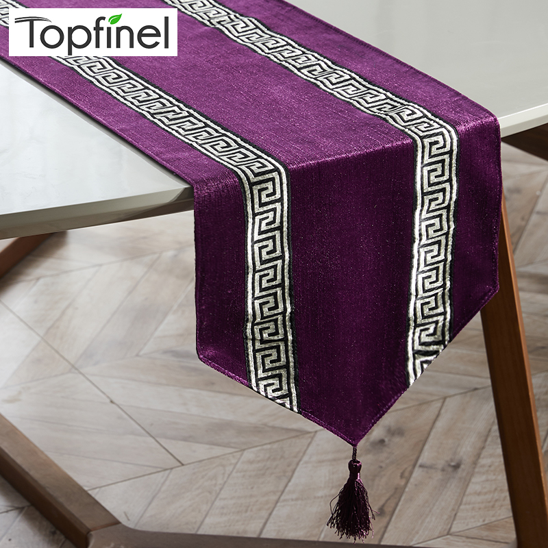 Topfinel Table Runners Modern Stripe Bed Runner For Wedding Geometric Luxury Cloth With Tassels Dining Decoration Party Home