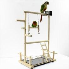 Parografia brinquedos com copo, bandeja de brinquedos, pássaro, balanço, pendurado, escada, ponte de madeira, cockatiel, parque de pássaros, perches 53*23*36cm