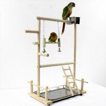 オウムと Playstands カップおもちゃトレイ鳥スイングぶら下げクライミングはしごブリッジ木製オカ遊び場鳥止まり 53*23*36 センチメートル