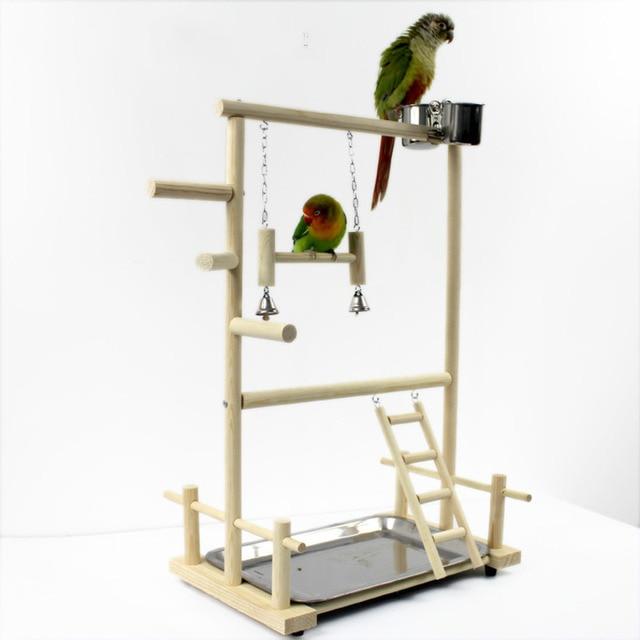 Soportes de juegos en madera para loros, juguetes de taza con bandeja de columpio para aves, puente con escaleras colgantes de 53x23x36cm para escalar estilo parque