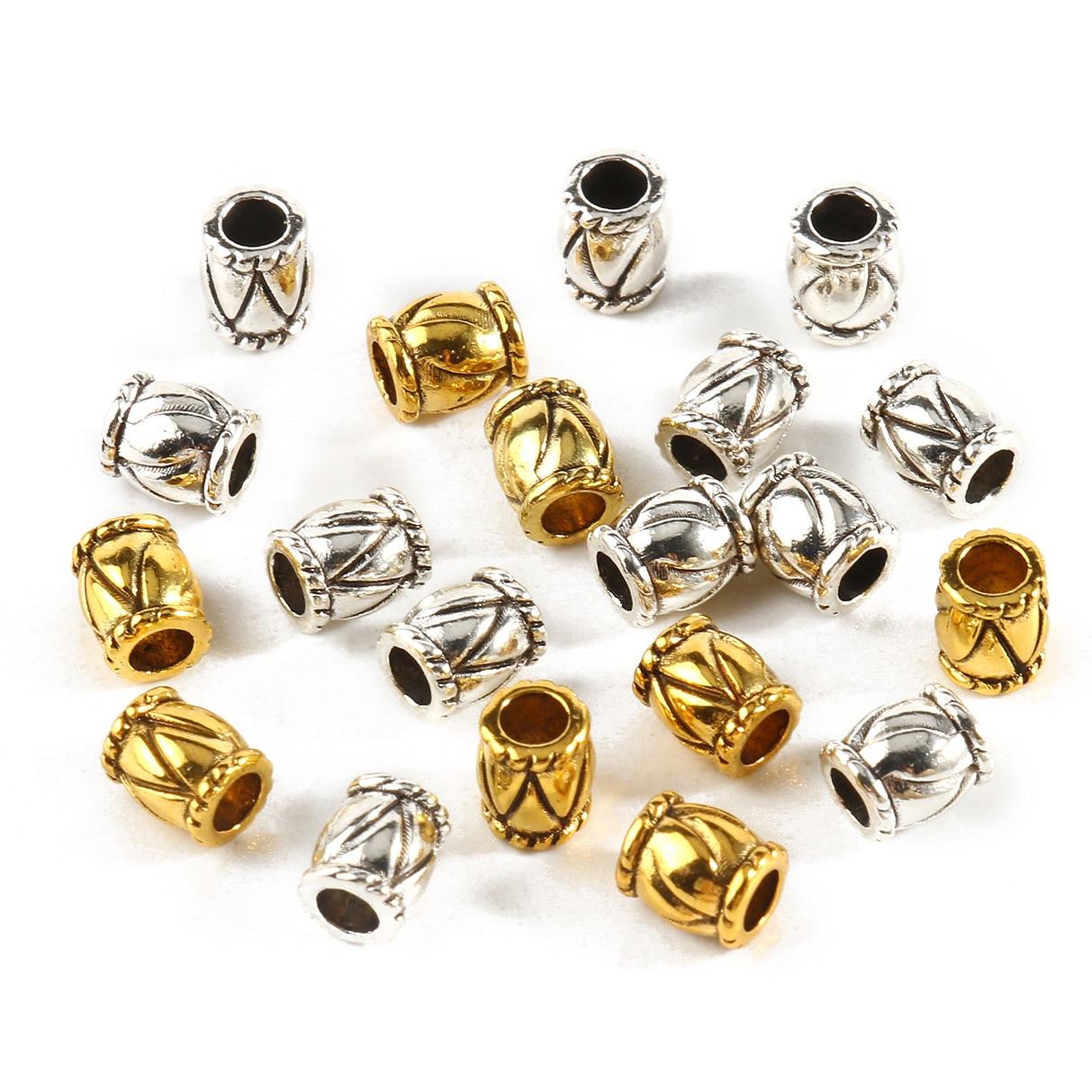 Металлические бусины золотого и серебряного цвета, цилиндрические полые граненые Квадратные бусины из сплава для изготовления ювелирных и...