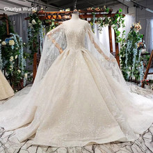 HTL723 luxury wedding gowns ball gown o neck sleeveless sequined pleat lace women wedding dress with cape vestidos de novia 2019(China)