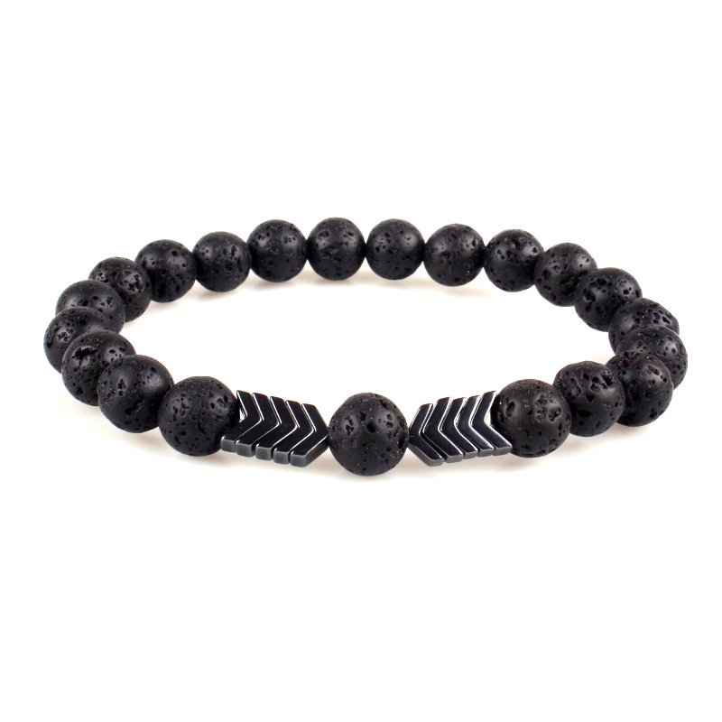 Fashion New Latest Design Natural Lava Rock Oil Diffuser Charm Bracelet Color Volcanic Stone Arrow Accessories