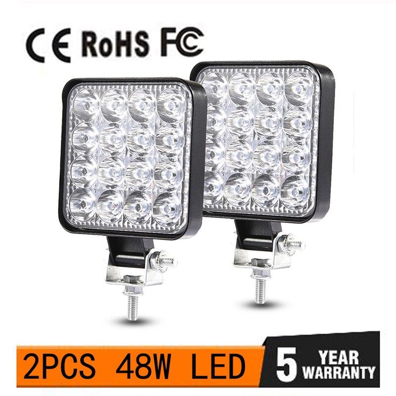 48W Work Light 30 Degree LED Car Spot Light Beam Square Off-road Lamp Light Fog Lighting Exterior For Jeep Boat/SUV/Truck