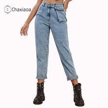 Jeans Streetwear Pencil-Pants Women's Trousers Vintage Girls High-Waist Fashion CHAXIAOA