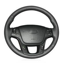 цена на For Kia Sorento 2009 Car hand-sewn steering wheel cover black artificial leather
