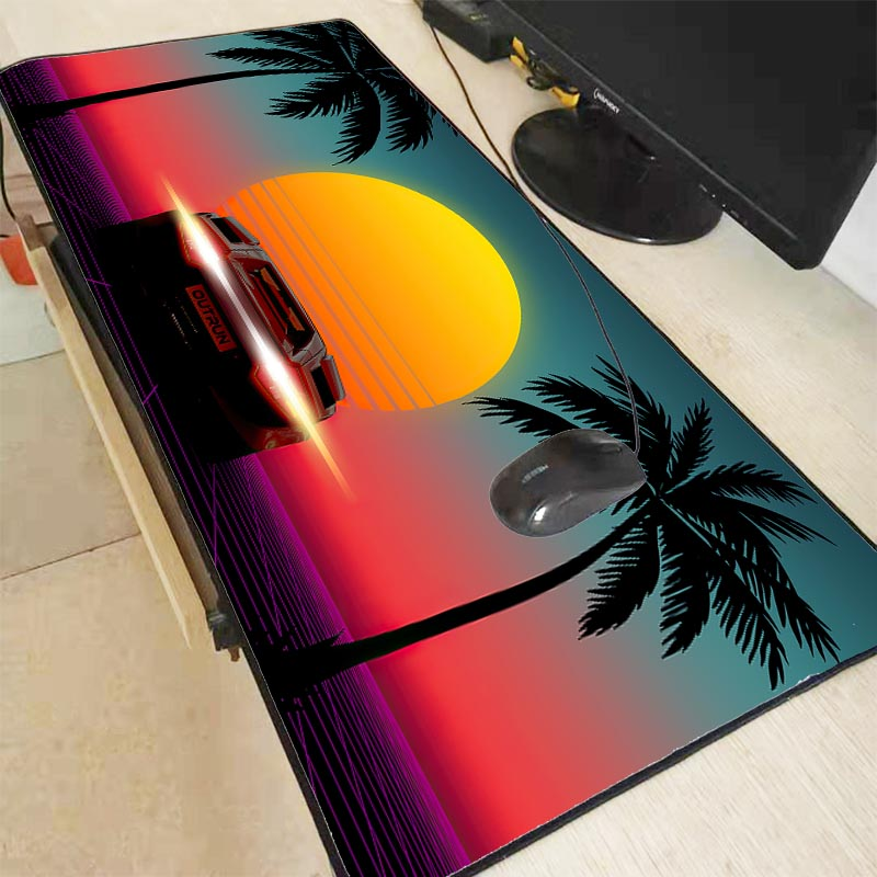 Sunset Car Palm Scenery Big Keyboard Anime Mouse Pad Large Computer Mousepad Gaming Cartoon XXL Pad To Mouse Desk Mice Mat image