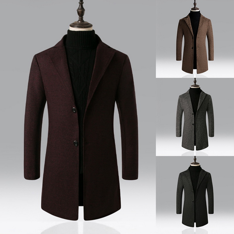 Oeak Winter Men Blends Coats Autumn Mens Solid Color Business Long Coats Brand Casual High Quality Mens Long Trench Coat Male
