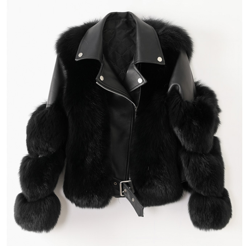 H59cf8133efd34b4594560dc2a7b6fbc55 Women Faux Fur Coat with Fox Fur Winter Fashion 2021 New Motocycle Style Luxury Fox Fur Leather Jackets Woman Trendy Overcoats