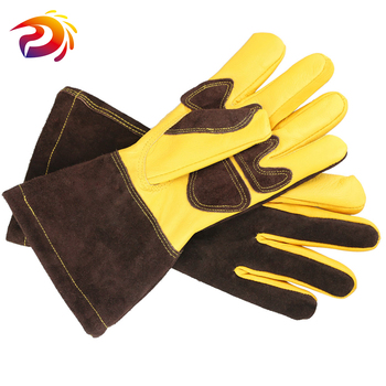 Welding Work Gloves with Leather Palm Welders Thick Cow Leather Stove Heat Resistant BBQ Glove leather work glove mig tig safety glove premium grain cow leather welding glove