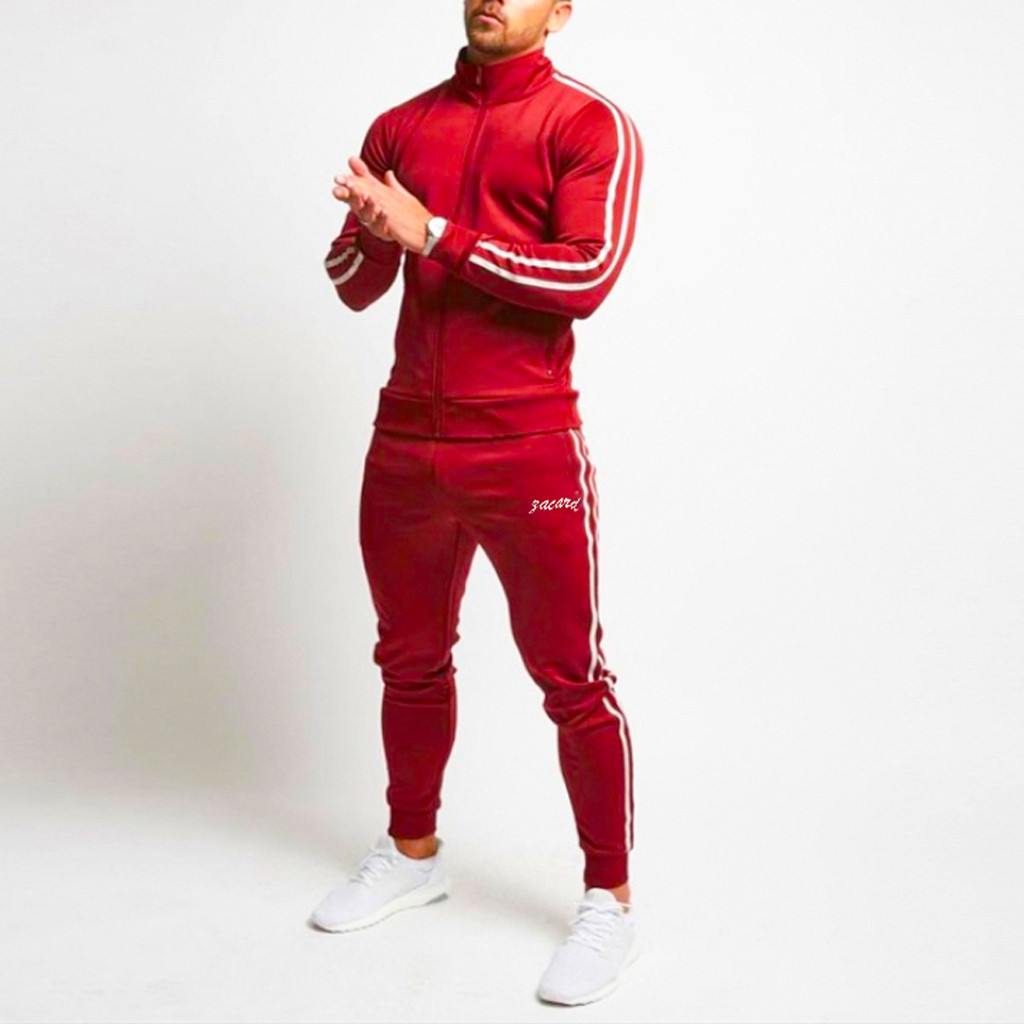 Autumn Men's Sports Solid Color Splicing Long Sleeve Turtleneck Top Sweater Pants Set Red Black Skinny Breathable Sports Set#LR3