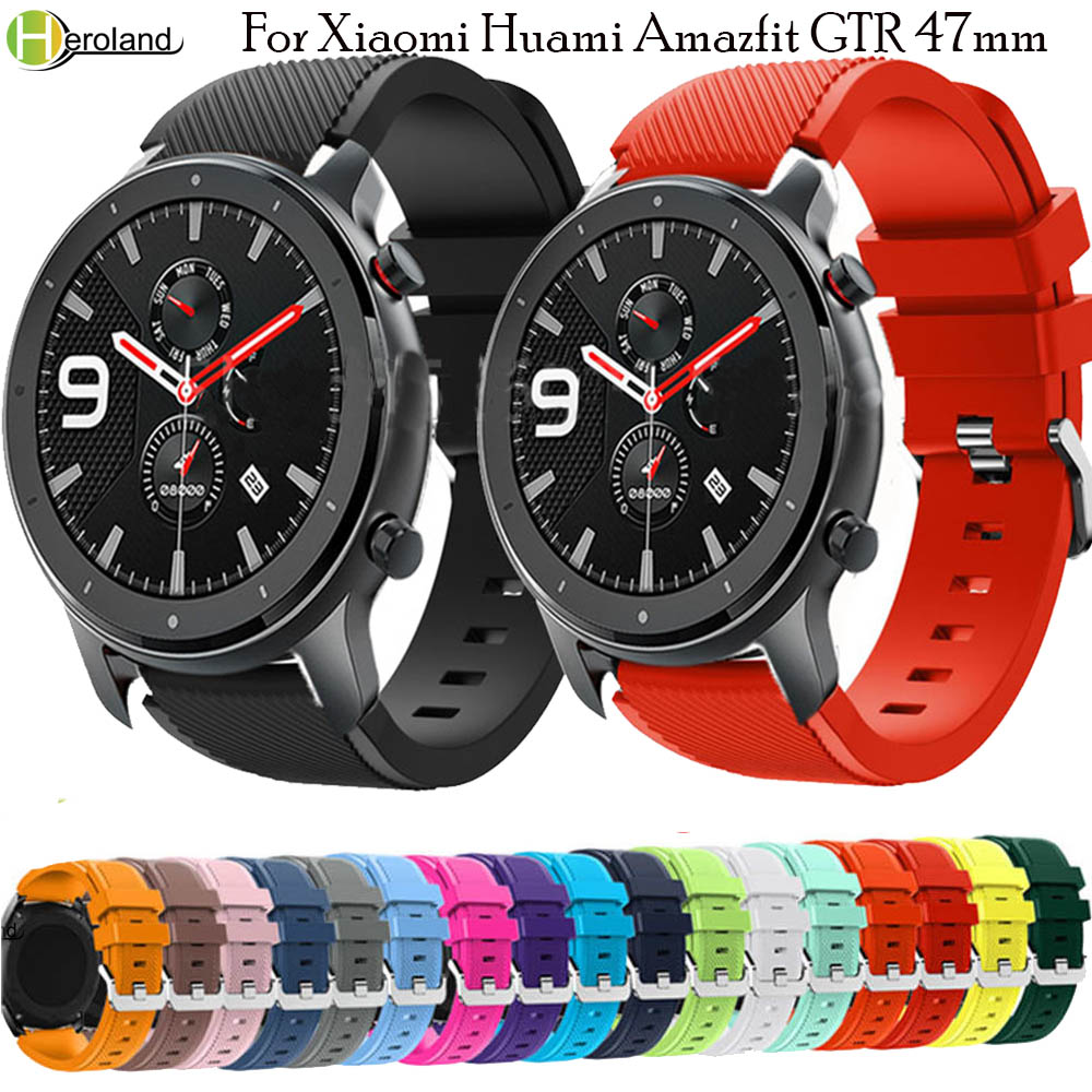 For Xiaomi Huami Amazfit GTR 47mm 22MM Silicone Watch Band For Huawei Watch GT 46mm Sport Replacement WatchBand Smartwatch Strap