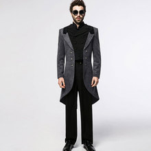 Vintage Mens Long Jackets Casual Spring Autumn Solid Black Gothic X-Long Slim Fit Mens Trench Coats Veste Homme Jaquetas