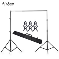 Andoer 280 * 300cm/118 * 110inches Aluminium Alloy Adjustable Photography Studio Background Backdrop Stand Support System Kit