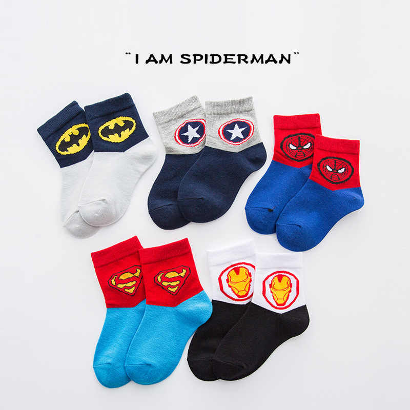 5 paar Baby Jongens Winter Sokken Super Hero Cartoon Marvel Superman Spiderman Batman Iron Man Kinderen Herfst Katoen Ademende Sokken